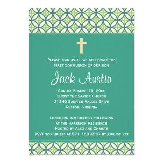 Green Communion Invite/Announcement Card