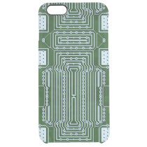 Green Computer Circuit Board White Lines Pattern Clear iPhone 6 Plus Case