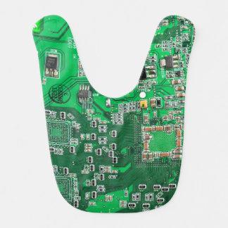 Green Computer Geek Circuit Board Baby Bib