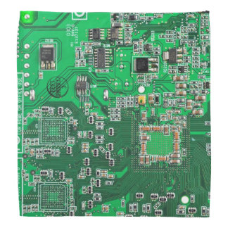 Green Computer Geek Circuit Board Bandana
