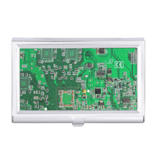Geek business card holders cases zazzle green computer geek circuit board business card holder colourmoves