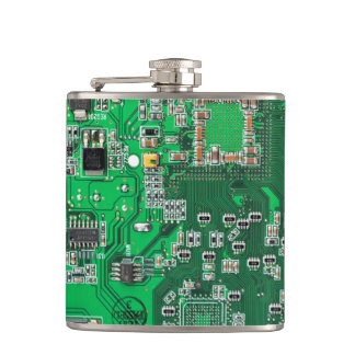 Green Computer Geek Circuit Board Flask