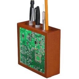 Green Computer Geek Circuit Board Pencil Holder