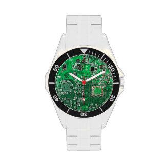 Green Computer Geek Circuit Board Watches