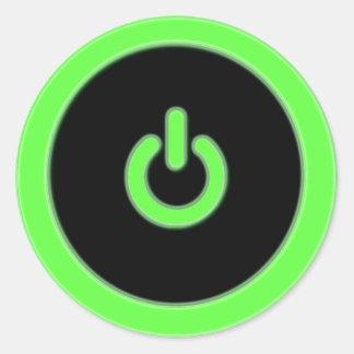 Green Computer Power Button Sticker