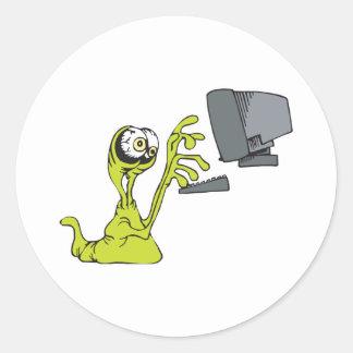 green computer typing alien monster blob classic round sticker