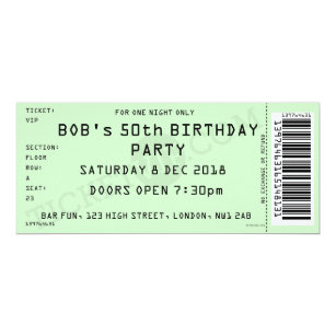 Concert ticket invitations announcements zazzle green concert ticket party invitation filmwisefo Images