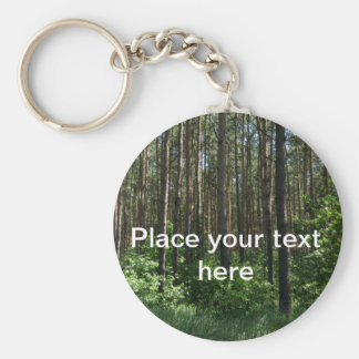 Green Coniferous Forest Trees Key Ring Basic Round Button Keychain