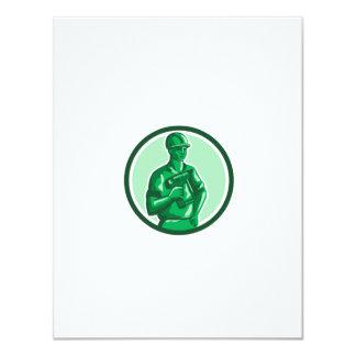 Green Construction Worker Nailgun Circle Retro Card