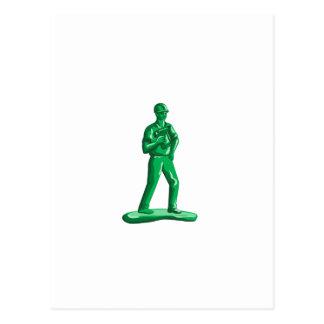 Green Construction Worker Nailgun Retro Postcard