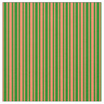[ Thumbnail: Green & Coral Colored Pattern of Stripes Fabric ]