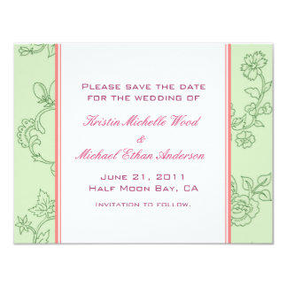 Green/Coral Save the Date Card