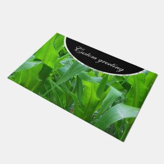 Green corn stalks/leaves photo doormat