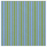 [ Thumbnail: Green & Cornflower Blue Colored Striped Pattern Fabric ]