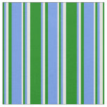 [ Thumbnail: Green, Cornflower Blue & Light Cyan Colored Lines Fabric ]