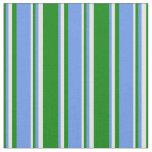 [ Thumbnail: Green, Cornflower Blue & Light Cyan Colored Lines Fabric ]
