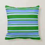[ Thumbnail: Green, Cornflower Blue & Light Cyan Colored Lines Throw Pillow ]