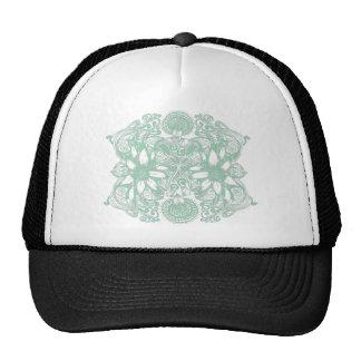Green Cosmic Flower Explosion Mesh Hats