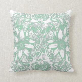Green Cosmic Flower Explosion Throw Pillow
