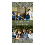 Green Cottage Wood Country Two Photo Holiday Cards