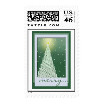 Green Country Christmas Tree - Postage Stamps