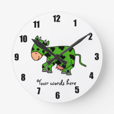 Green cow clock