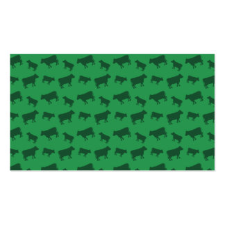Green cow pattern business card template