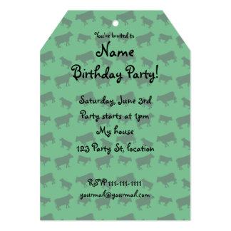 Green cow pattern 5x7 paper invitation card