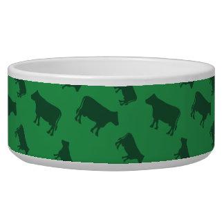 Green cow pattern pet bowl