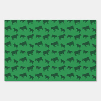 Green cow pattern lawn sign