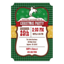 Green Cowboy Christmas Party Invitation