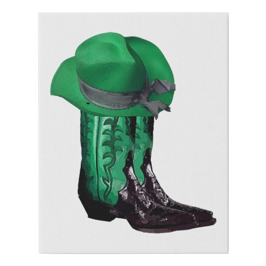 Green cowgirl hat and Boots Original Western Art Faux Canvas Print ... 25173b5efe2