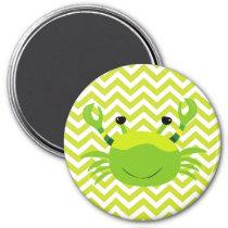 Green Crab on Green Chevron Stripe Pattern Magnet