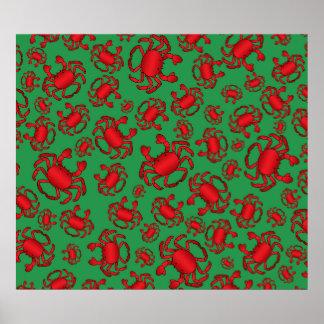 Green crab pattern poster