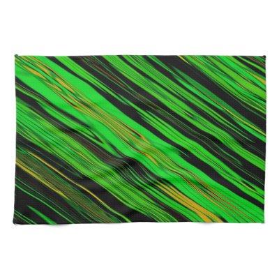Green Craze Stripe Design Kitchen Towel