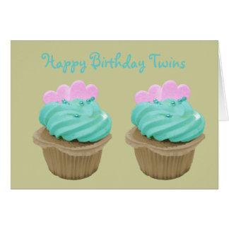 Green Cream Cupcake and Pink Hearts Card