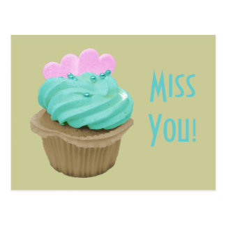 Green Cream Cupcake and Pink Hearts Post Card