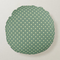 Green/Cream Grade A Cotton Round Throw Pillow