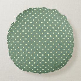 Green/Cream Grade A Cotton Round Throw Pillow Round Pillow