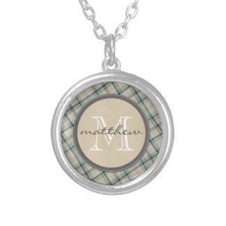 Green Cream Plaid background Monogram Round Pendant Necklace