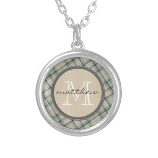 Green Cream Plaid background Monogram Silver Plated Necklace