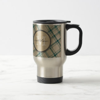 Green Cream Plaid background Monogram Travel Mug