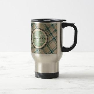 Green Cream Plaid Monogram Travel Mug