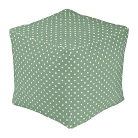 Green/Cream Polyester Cubed Pouf (18