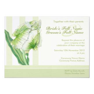 Green Cream Tulip 2 Wedding Invitation