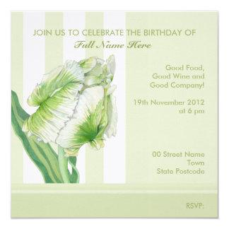 Green Cream Tulip Birthday Invitation