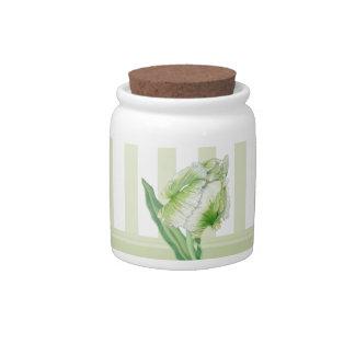 Green Cream Tulip Candy Jar