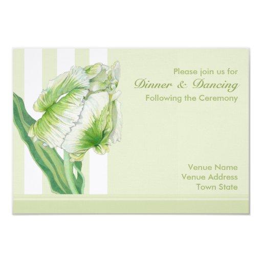 Green Cream Tulip Reception Card Personalized Invite