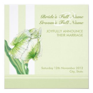 Green Cream Tulip Wedding Announcement