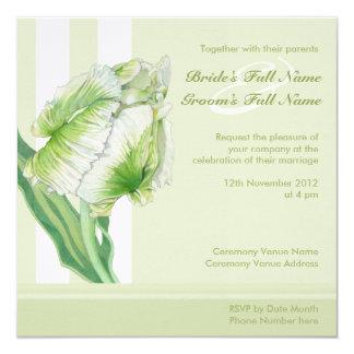 Green Cream Tulip Wedding Invitation